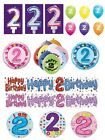 2nd Birthday AGE 2 - Large Range of CAKE CANDLES & Party BANNERS - Plastic/Foil