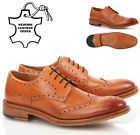 Mens boys smart brogue tan leather lace up welted office work party shoes size
