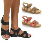 Ladies Womens New Comfort Wide Fit Low Heel Casual Shoes Sandals Velcro Size