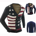 Mens Casual Slim Fit V-neck Flag Knitwear Pullover Cardigan Sweater Coat Tops