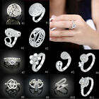 Fashion Women Crystal 18K WGP Rings Wedding Christmas Gifts Size 7 8 Jewellry