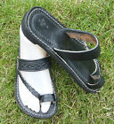 100% MOROCCAN LEATHER BEACH SANDALS * FLIP FLOPS  BLACK * 5 sizes available
