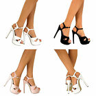 WOMENS PEEP TOE STRAPPY PLATFORM STILETTO LADIES MID HIGH HEEL PARTY SHOES SIZE