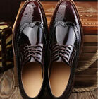 Men's Dress Oxford Formal Casual Brogue Wing Tip Patent Leather Business Shoes 8