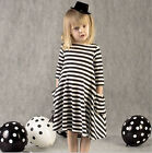 Cotton Baby Girls  Long Sleeve Black and white striped Dress 2-5Years