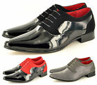 Mens Black Red Faux Suede & Patent Formal Lace Up Wedding Shoes UK Sizes 6-12