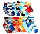 Kids Boys 12-pack Colourful Anti-slip Ankle Socks Age 1 2 3 Dinosaurs Cars Bugs