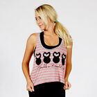 """Belle & Bell """"Four Belles"""" Striped Crop Top Pink/Grey Gym Workout Lifting"""