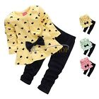 Xmas Kid Baby Girl Birthday Outfit Clothes Bow T-shirt Tops Dress+Pants 2PCS Set