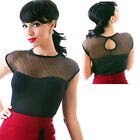 Steady Miss Fancy Top Gothic Rockabilly Pin Up Retro Vintage Polka Dot Mesh