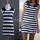 Navy Summer Womens Ladies Sleeveless Blue White Striped Casual Mini Sexy Dress