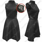 NEW WOMENS LADIES POLO TOP PU SKIRT DRESS BLACK LACE TEXTURE LOOK SKATER DRESSES