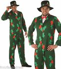 Mens Holly Print Suit & Hat Father Christmas Day Fancy Dress Costume Outfit M-XL