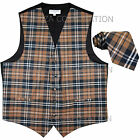 New Vesuvio Napoli Men's plaid Tuxedo Vest Waistcoat Necktie Brown