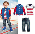 3pcs Baby Boys Long Sleeve Jacket+T-shirt + jeans Outfit 2-6Years