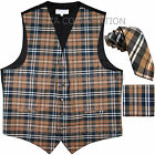 "New Vesuvio Napoli Men's plaid Tuxedo Vest 2.5"" Self Tie Necktie  Hankie Brown"