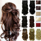 100% Real Soft Full Head Clip in Hair Extensions 18 clips on Straight Wavy su96