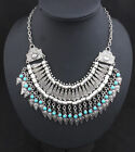 Womens Blogger Sliver Bead statement necklace Chunky Choker Bib Pendant Chain