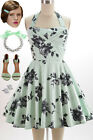 50s Style LT MINT Florals TRAVELING CUPCAKE TRUCK Dress with HALTER Petal Bust