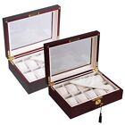 Perfect Gift 10 Mens Ebony/Cherry Wood Watch Case Glass Top Storage Display Box