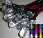 10mm Ultra Bright Pre-Wired Fast Colour Changing RGB LEDs Black/Chrome Holders