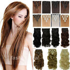 Excellent Full Head Clip in Hair Extensions Brown Blonde Red Real Synthetic su92