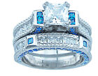 7.50Ct Princess Cut Clear & Sapphire Blue CZ Engagement Wedding Ring Set