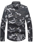 Fashion New Men Long Sleeve T-shirt Tops Camouflage Slim Fit Casual Dress Shirt