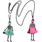 Cute Doll Necklace Pendant Alloy PU Leather Charm Women Sweater Chain Fashion