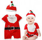 New Baby Boy Girl Chirstmas Hat Romper Bodysuit Xmas One-pieces Clothes 0-2T