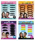 Fancy Dress MOUSTACHE KITS - Packs of 10 - Different Styles (50s/60s/70s/80s)