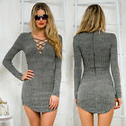 Sexy Lady Winter Lace Up Long Sleeve Slim Sweater Jumper Knit Bodycon Mini Dress