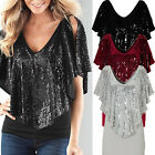 Women Loose Sequin T Shirt V Neck Lace Blouse Batwing Short Sleeve Casual Tops