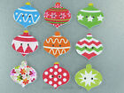 Christmas Bauble Magnets cute strong neodymium painted wood  - 4 gift boxed