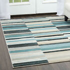 Contemporary Blue-Gray Carpet Cubes Lines Blocks Bricks Geometric Area Rug