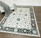 Traditional Cream-Gray Carpet Circles Scrolls Vines Leaves Bordered Area Rug