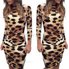 Women Sexy Leopard Print Bodycon Slim Backless Long Sleeve Party Dress Clubwear