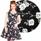 Hell Bunny Natalia Rose Black Dress Rockabilly Pin Up Retro Floral Vintage