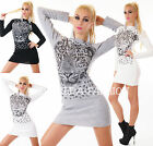 HOT SEXY LANGER STRICK PULLOVER LONG PULLI LEOPARD STRASS ONE SIZE