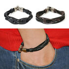 NEW Men's Vintage Leather Hemp Braid Bracelet Bangle Cuff Wrap Surfer Wristband
