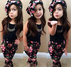 New Cute Toddler Kids Girls Outfits Headband T-shirt Pants Clothes Set Casual
