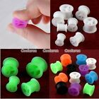 "0g-9/16"" Peace Sign Flexible Silicone Flared Ear Tunnel Plugs Expander Stretcher"