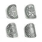 4Styles New Fashion Carved Chunky Vintage Silver Ethnic Wide Women's Band Ring
