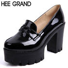 Fashion Sweet PU Leather Thick Heel Women Shoes Platform Slip-on Casual Shoes