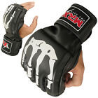 MMA Gloves Cage Boxing Fight Bone Design Grappling Mitts Leather, Black