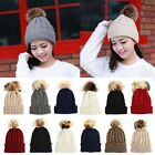 Womens Warm Wool Knitted Raccoon Fur Pom Beanie Bobble Ski Hat Slouch Cap RD