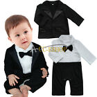 Newborn Baby Boys Formal Suit Tuxedo Gentleman Romper Coat Outfit Clothing 0-24M