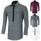 UK Mens Tee Shirt Jones 'Chadwick' Long Sleeved Slim Fit Casual Shirts Size S-XL