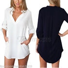 Casual Womens Blouse New Chiffon Long Sleeve Ladies Top T shirt Loose Short Tops