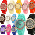 Women Gold Color Jelly Silicone Geneva Quartz Crystal Rhinestone Wrist Watch